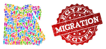People migration traffic collage of mosaic map of Egypt and corroded seal stamp. Mosaic map of Egypt is designed with multidirectional colorful arrows and crowd.