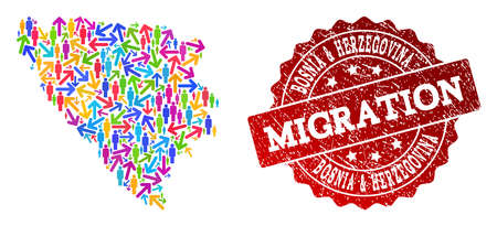 People migration traffic collage of mosaic map of Bosnia and Herzegovina and grunge seal. Mosaic map of Bosnia and Herzegovina is constructed with multidirectional multicolored arrows and crowd.