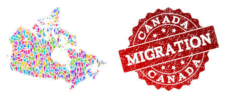 People migration traffic composition of mosaic map of Canada and rubber seal stamp. Mosaic map of Canada is constructed with multidirectional colorful arrows and men.