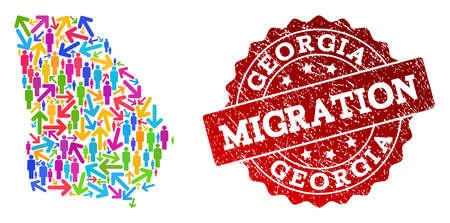 People migration traffic composition of mosaic map of Georgia State and rubber stamp. Mosaic map of Georgia State is designed with different bright colored arrows and people. Illustration