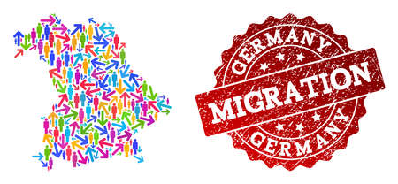 People migration traffic composition of mosaic map of Germany and grunge seal. Mosaic map of Germany is constructed with multidirectional colorful arrows and men.