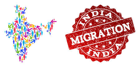 People migration traffic composition of mosaic map of India and scratched seal. Mosaic map of India is constructed with different multicolored arrows and men. Ilustração