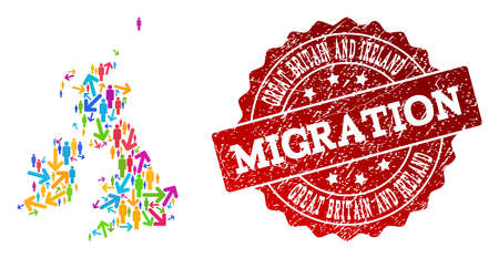 People migration traffic composition of mosaic map of Great Britain and Ireland and grunge stamp. Vector Illustration