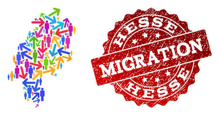 People migration traffic composition of mosaic map of Hesse State and unclean seal stamp. Mosaic map of Hesse State is constructed with different bright colored arrows and population.