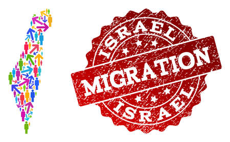 People migration traffic collage of mosaic map of Israel and corroded seal. Mosaic map of Israel is designed with different multicolored arrows and people.