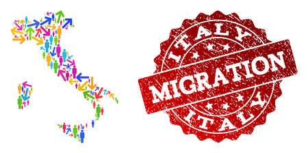 People migration traffic collage of mosaic map of Italy and rubber seal. Mosaic map of Italy is constructed with multidirectional colorful arrows and population.