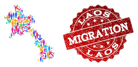 People migration traffic composition of mosaic map of Laos and rubber seal. Mosaic map of Laos is designed with different bright colored arrows and crowd. Ilustração