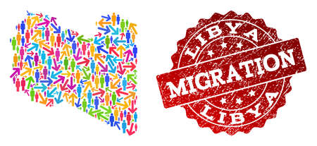 People travel traffic composition of mosaic map of Libya and rubber seal stamp. Mosaic map of Libya is designed with multidirectional multicolored arrows and population.