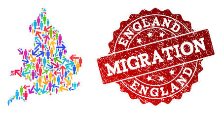 People migration traffic collage of mosaic map of England and dirty seal. Mosaic map of England is constructed with different bright colored arrows and people.