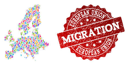 People migration traffic composition of mosaic map of Euro Union and scratched stamp. Mosaic map of Euro Union is constructed with multidirectional colored arrows and people. Ilustração