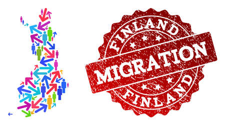 People migration traffic combination of mosaic map of Finland and grunge seal stamp. Mosaic map of Finland is constructed with multidirectional bright colored arrows and men.