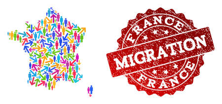 People migration traffic collage of mosaic map of France and dirty seal stamp. Mosaic map of France is constructed with multidirectional multicolored arrows and persons.