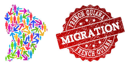 People migration traffic collage of mosaic map of French Guiana and unclean seal. Mosaic map of French Guiana is designed with multidirectional colored arrows and people.