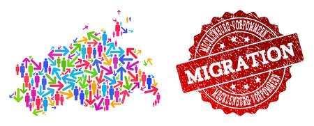 People migration traffic composition of mosaic map of Mecklenburg-Vorpommern State and grunge seal. Illustration