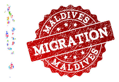 People migration traffic combination of mosaic map of Maldives and grunge seal stamp. Mosaic map of Maldives is designed with multidirectional colorful arrows and persons. Ilustração