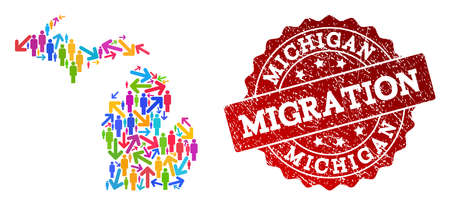 People migration traffic collage of mosaic map of Michigan State and unclean seal. Mosaic map of Michigan State is constructed with multidirectional colorful arrows and people.
