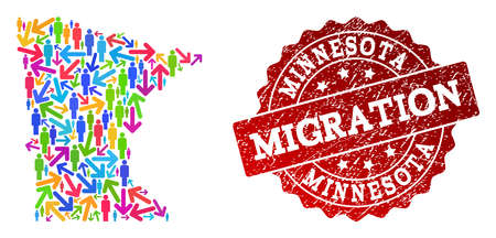People migration traffic collage of mosaic map of Minnesota State and grunge seal. Mosaic map of Minnesota State is designed with different colored arrows and people.