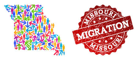 People migration traffic composition of mosaic map of Missouri State and dirty seal. Mosaic map of Missouri State is constructed with multidirectional multicolored arrows and persons.