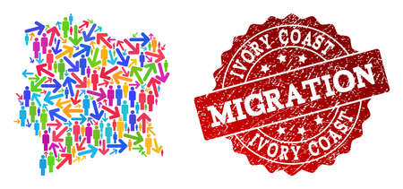 People migration traffic composition of mosaic map of Ivory Coast and rubber stamp. Mosaic map of Ivory Coast is constructed with multidirectional colorful arrows and people.