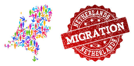 People migration traffic collage of mosaic map of Netherlands and corroded seal stamp. Mosaic map of Netherlands is designed with multidirectional multicolored arrows and men.
