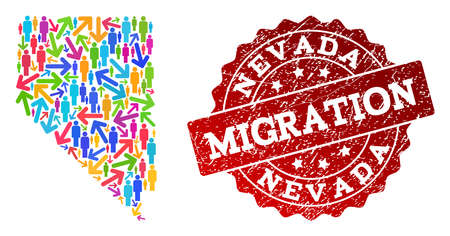 People migration traffic composition of mosaic map of Nevada State and rubber stamp. Mosaic map of Nevada State is designed with different bright colored arrows and people.