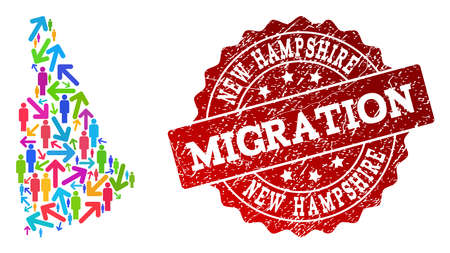 People migration traffic composition of mosaic map of New Hampshire State and unclean seal stamp. Mosaic map of New Hampshire State is designed with multidirectional colorful arrows and people. Ilustração
