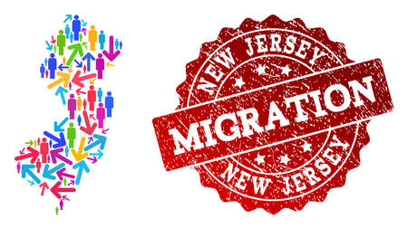 People travel traffic composition of mosaic map of New Jersey State and grunge seal. Mosaic map of New Jersey State is constructed with different multicolored arrows and people.