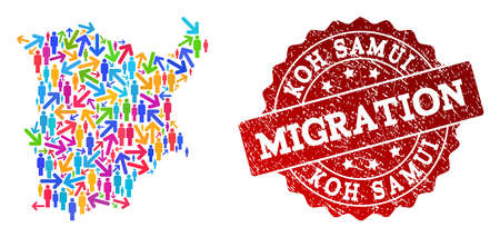 People migration traffic collage of mosaic map of Koh Samui and rubber stamp. Mosaic map of Koh Samui is constructed with different colorful arrows and crowd. Illustration