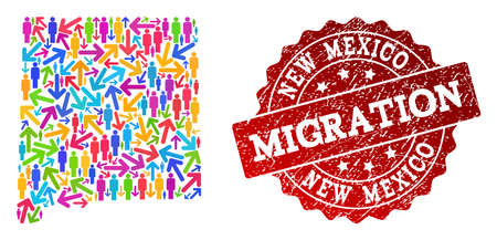 People migration traffic combination of mosaic map of New Mexico State and grunge seal stamp. Mosaic map of New Mexico State is constructed with multidirectional multicolored arrows and people.