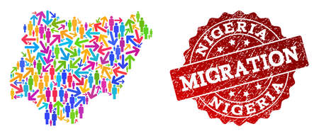 People migration traffic combination of mosaic map of Nigeria and unclean seal stamp. Mosaic map of Nigeria is constructed with different colored arrows and men.