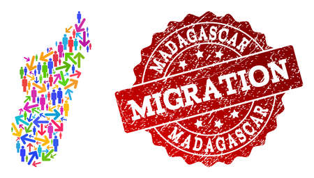 People migration traffic composition of mosaic map of Madagascar Island and corroded seal stamp. Mosaic map of Madagascar Island is designed with multidirectional bright colored arrows and crowd.