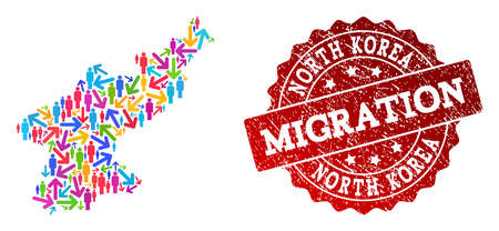 People migration traffic collage of mosaic map of North Korea and corroded seal. Mosaic map of North Korea is constructed with multidirectional bright colored arrows and crowd.