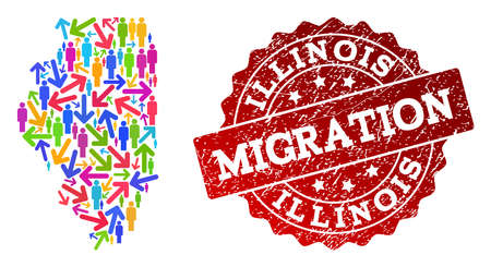 People migration traffic collage of mosaic map of Illinois State and grunge seal. Mosaic map of Illinois State is constructed with different colorful arrows and crowd. Stock Illustratie