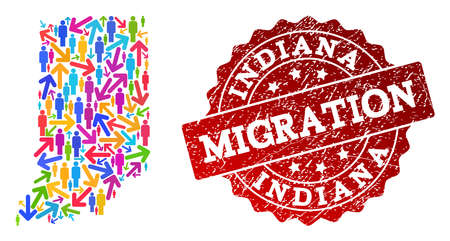 People migration traffic collage of mosaic map of Indiana State and rubber seal stamp. Mosaic map of Indiana State is designed with different multicolored arrows and people.