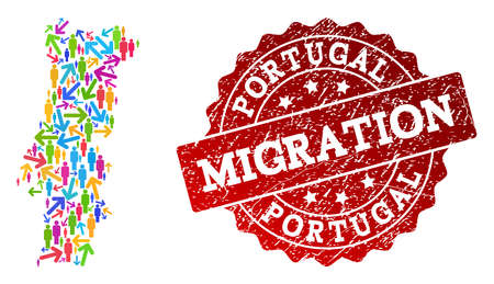 People migration traffic combination of mosaic map of Portugal and textured stamp. Mosaic map of Portugal is designed with multidirectional colored arrows and people. Ilustração
