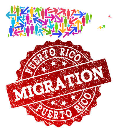 People migration traffic combination of mosaic map of Puerto Rico and corroded seal stamp. Mosaic map of Puerto Rico is constructed with different bright colored arrows and men.
