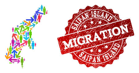 People migration traffic combination of mosaic map of Saipan Island and rubber seal. Mosaic map of Saipan Island is designed with multidirectional colorful arrows and people. 일러스트