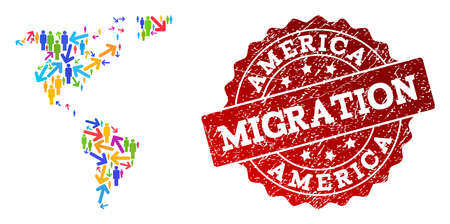 People travel traffic combination of mosaic map of South and North America and corroded stamp. Mosaic map of South and North America is constructed with multidirectional bright colored arrows and men.