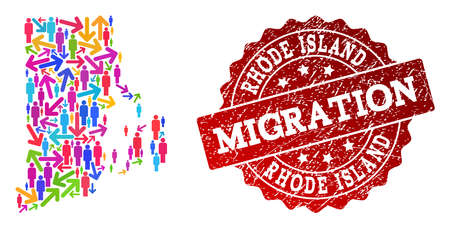 People travel traffic collage of mosaic map of Rhode Island State and rubber seal stamp. Mosaic map of Rhode Island State is constructed with different colored arrows and people. Ilustração