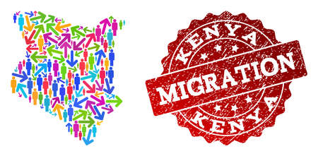 People migration traffic composition of mosaic map of Kenya and rubber seal stamp. Mosaic map of Kenya is designed with different bright colored arrows and people.