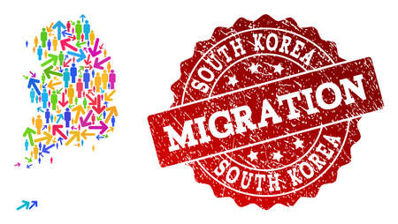 People migration traffic combination of mosaic map of South Korea and rubber stamp. Mosaic map of South Korea is constructed with different colorful arrows and crowd. Ilustração