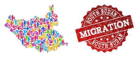 People migration traffic collage of mosaic map of South Sudan and scratched seal. Mosaic map of South Sudan is constructed with multidirectional multicolored arrows and persons. Stock Illustratie