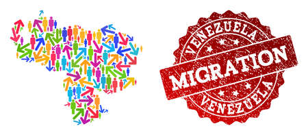 People migration traffic composition of mosaic map of Venezuela and corroded seal. Mosaic map of Venezuela is designed with multidirectional multicolored arrows and people. Stock Vector - 127656246