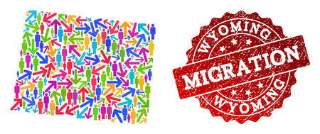 People migration traffic combination of mosaic map of Wyoming State and scratched seal stamp. Mosaic map of Wyoming State is designed with different bright colored arrows and people. Ilustração