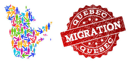 People migration traffic composition of mosaic map of Quebec Province and rubber stamp. Mosaic map of Quebec Province is designed with multidirectional colorful arrows and people.