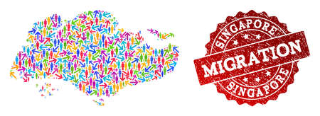 People migration traffic combination of mosaic map of Singapore and unclean seal stamp. Mosaic map of Singapore is designed with multidirectional bright colored arrows and crowd.