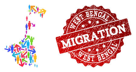 People travel traffic composition of mosaic map of West Bengal State and corroded seal. Mosaic map of West Bengal State is designed with different bright colored arrows and population. Banco de Imagens