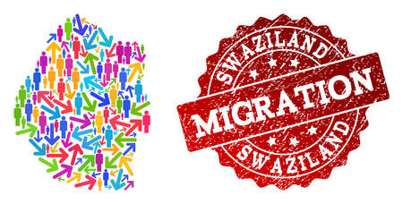 People migration traffic combination of mosaic map of Swaziland and unclean stamp. Mosaic map of Swaziland is constructed with multidirectional multicolored arrows and people.
