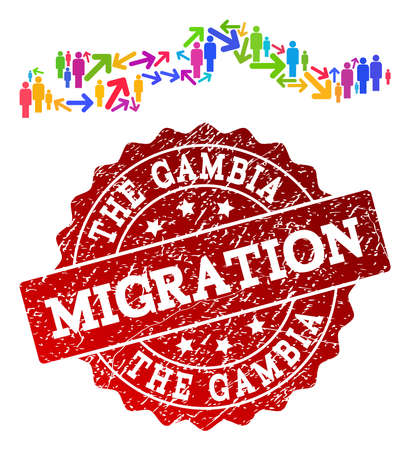 People migration traffic combination of mosaic map of the Gambia and rubber stamp. Mosaic map of the Gambia is constructed with different colorful arrows and population.
