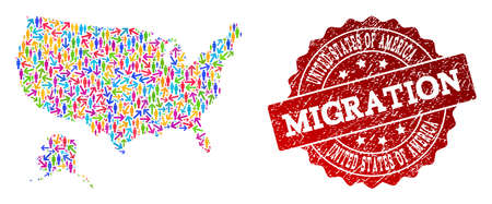 People migration traffic combination of mosaic map of USA and Alaska and scratched seal stamp. Mosaic map of USA and Alaska is constructed with multidirectional multicolored arrows and persons. Banco de Imagens